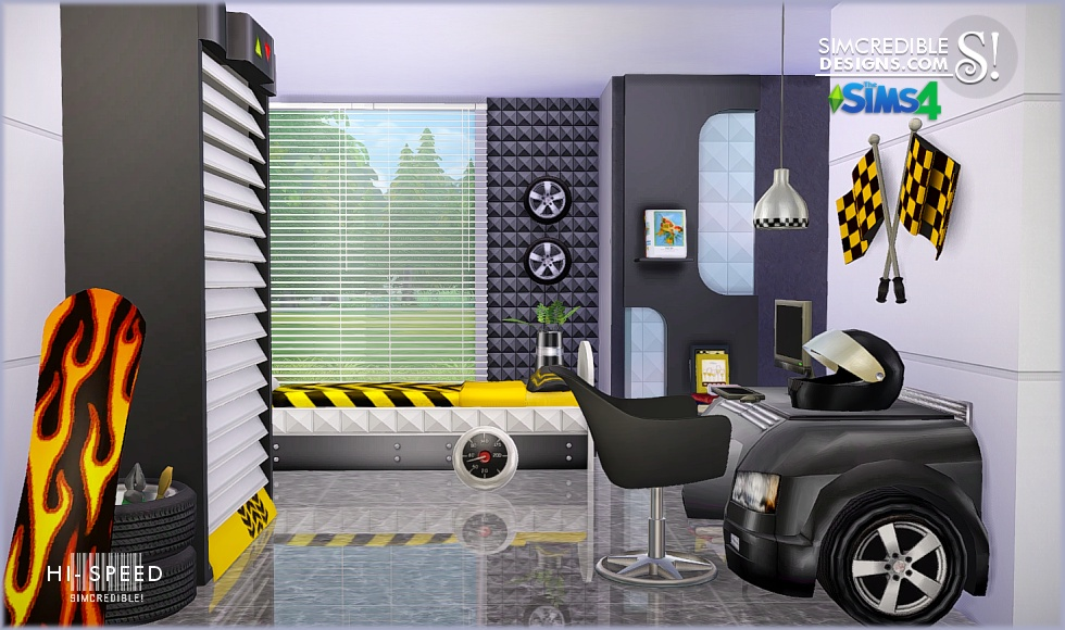 My sims 4 blog hi speed kids bedroom set by simcredible for Bedroom designs sims 4