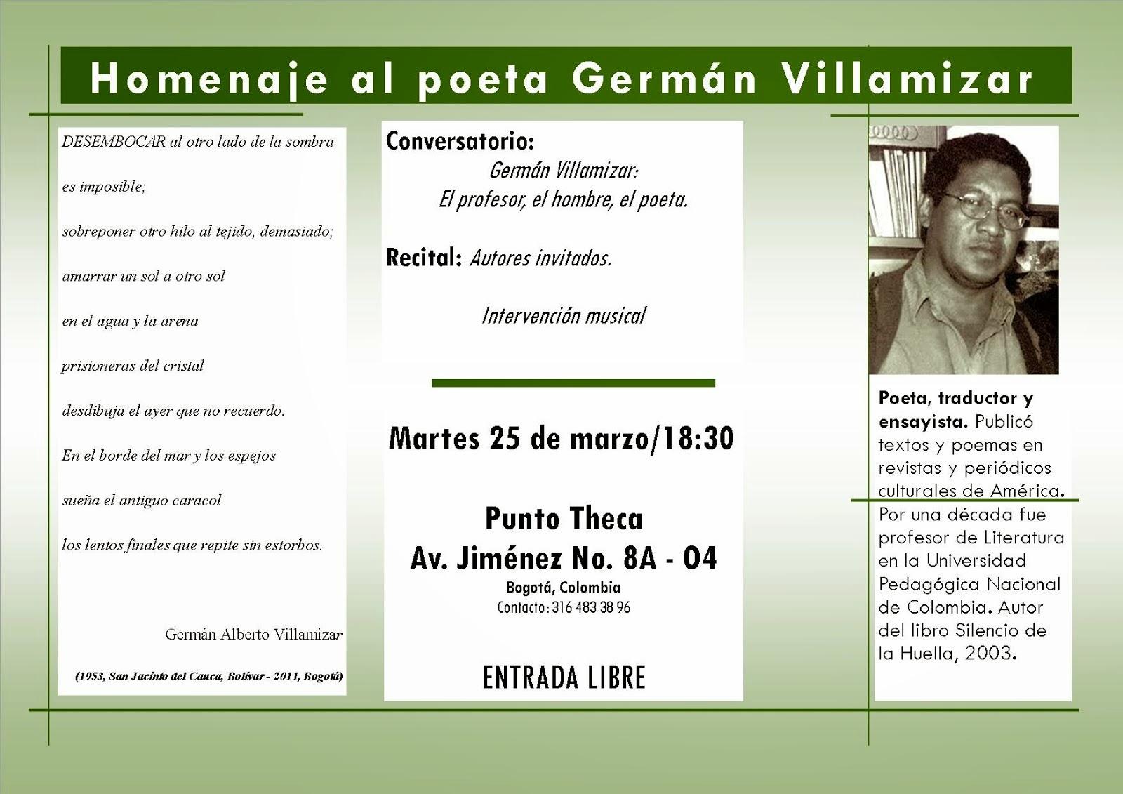Homenaje al poeta Germán Villamizar