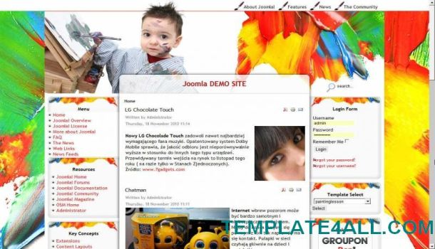 Painting Multi Color Joomla Template