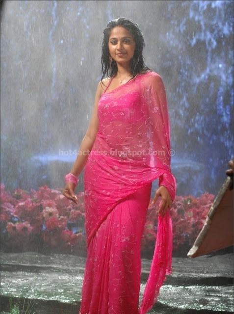 Anuksha hot images in pink saree