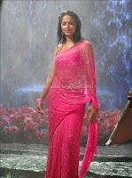 Anuksha, hot, navel, images, in, pink, saree