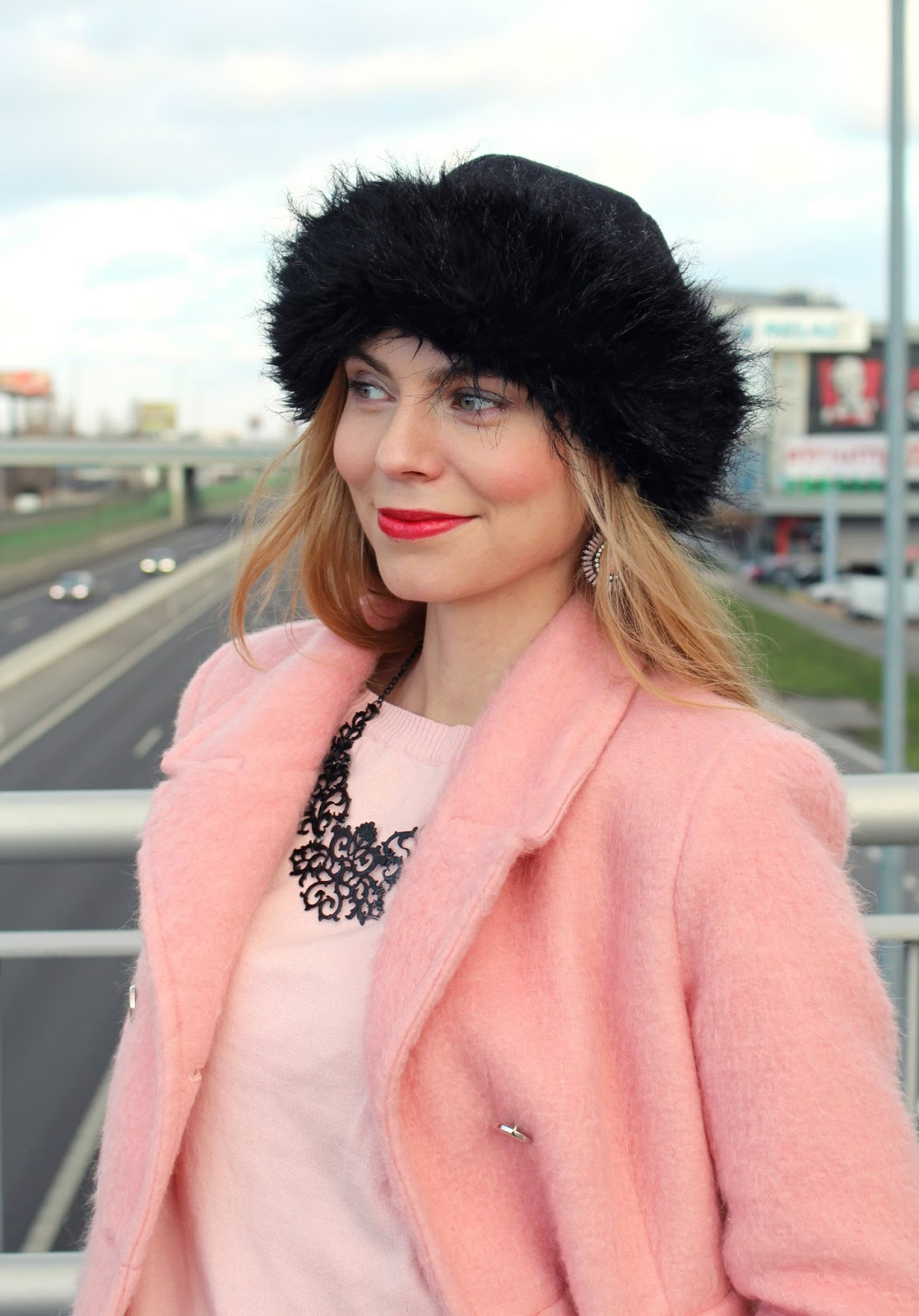 winter pink coat