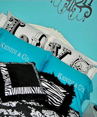 dormitorio colores turquesa negro