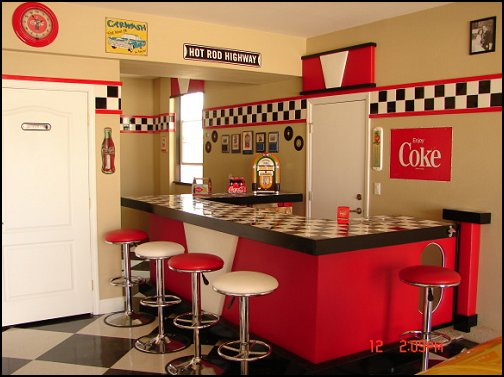 ideas - 50s theme decor - 1950s retro decorating style - 50s diner ...