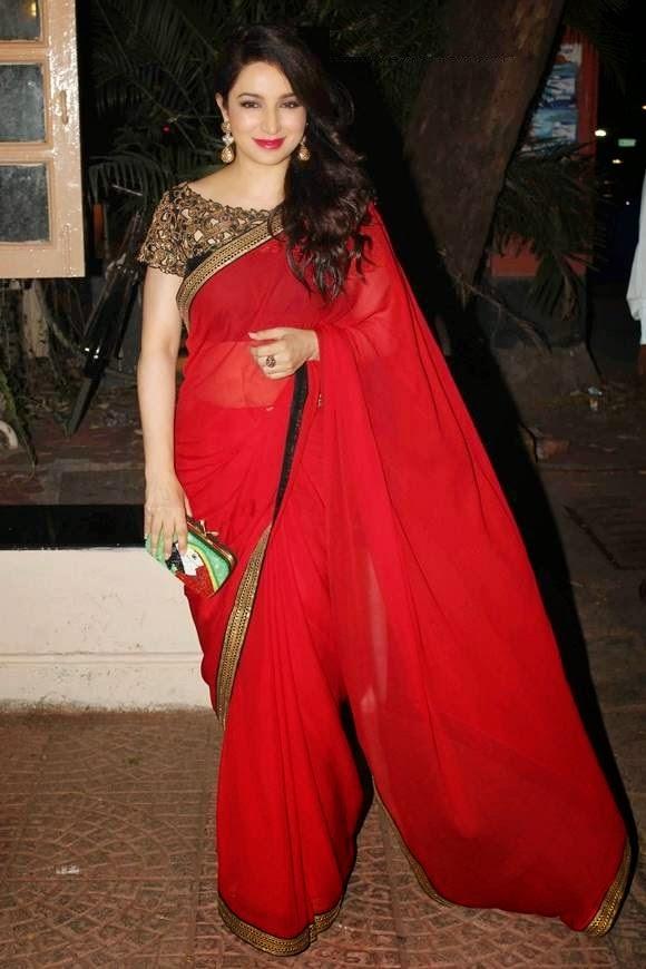 Tisca Chopra - Bollywood Actress Red Saree Stills at Ekta Kapoor ...