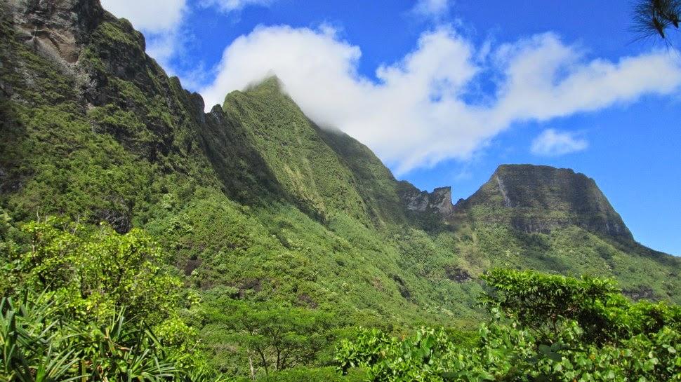 Point de vue sur les montagnes environnant la caldeira du domaine d'Opunohu