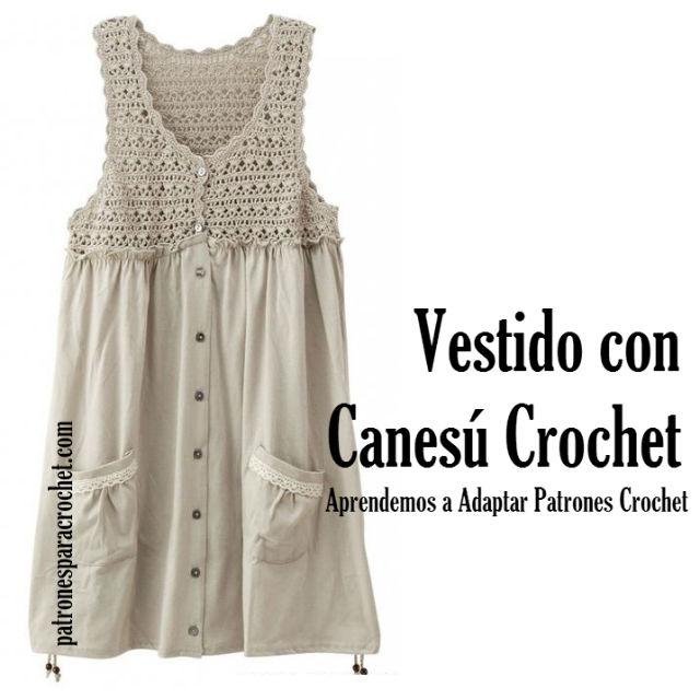 Vestido de tejla con canesú tejido al crochet