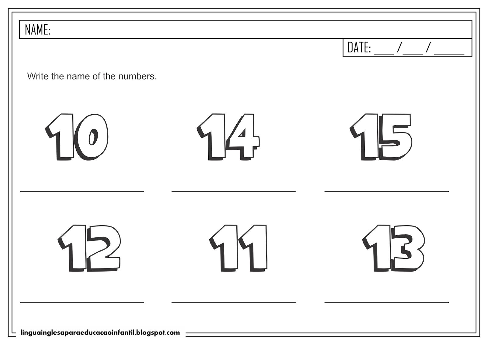 Atividade de Inglês - Números de 10 a 15