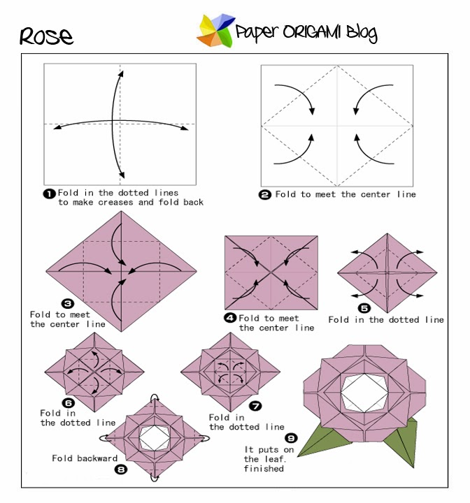 Flowers origami rose paper origami guide for Paper rose origami