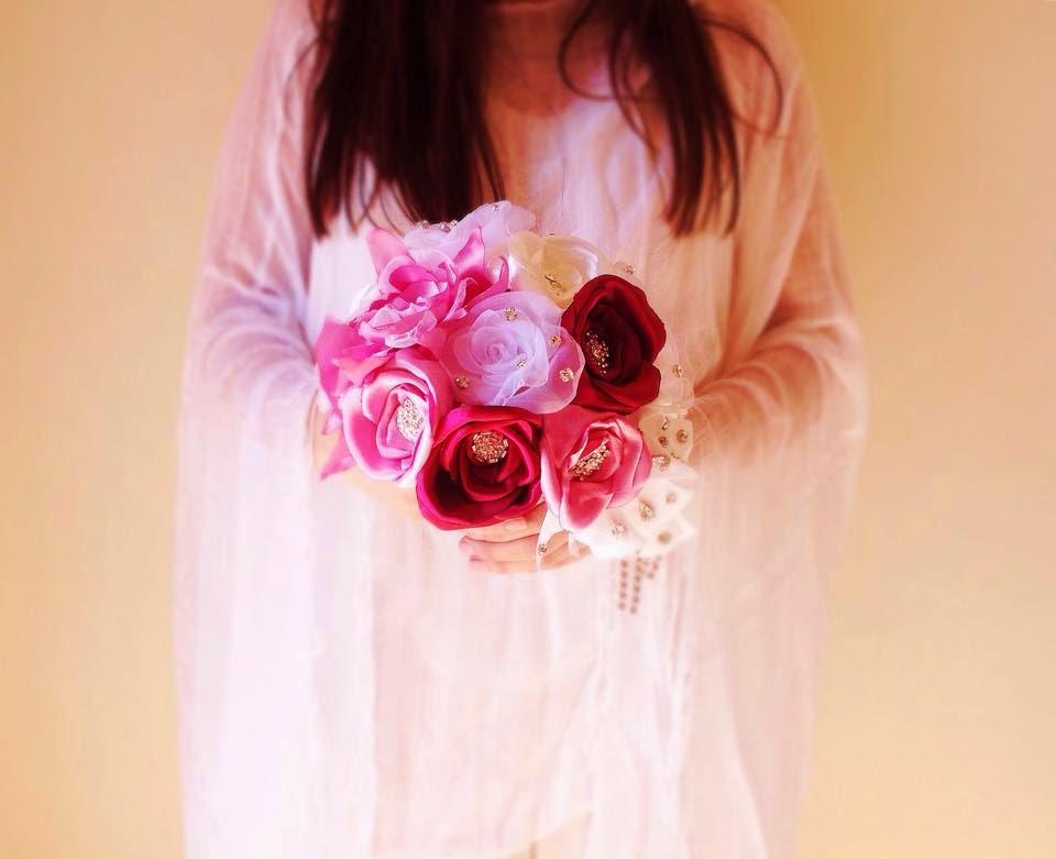 bouquet de noiva cascata em tecido