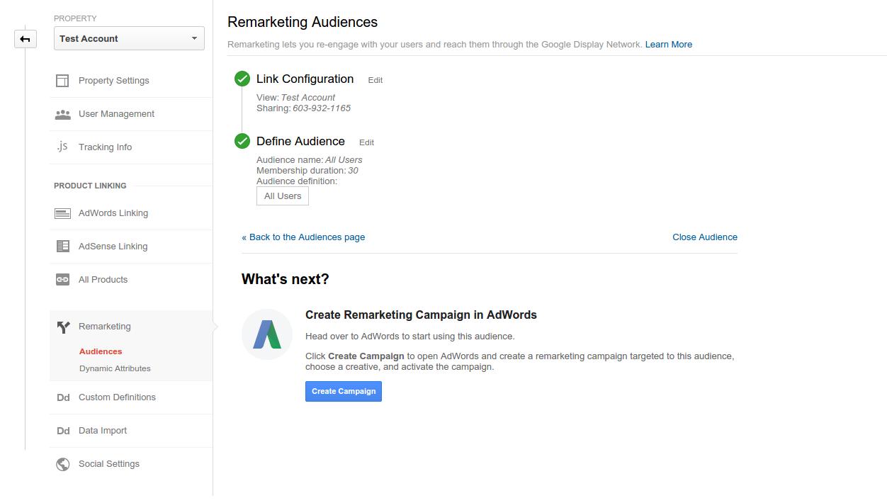 Start Remarketing with Google Analytics Instant Activation