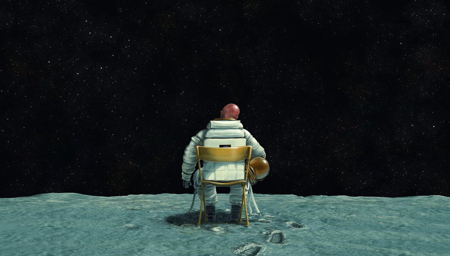 Astronaut Watches From The Moon