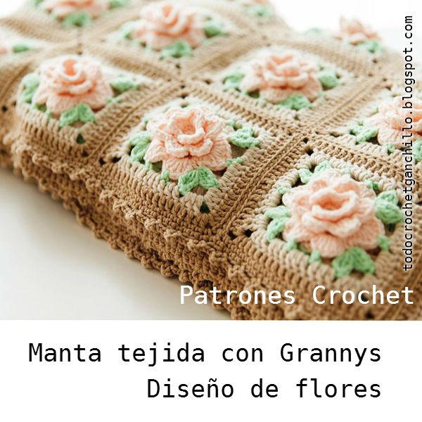 Fantástica manta tejida crochet con patrones