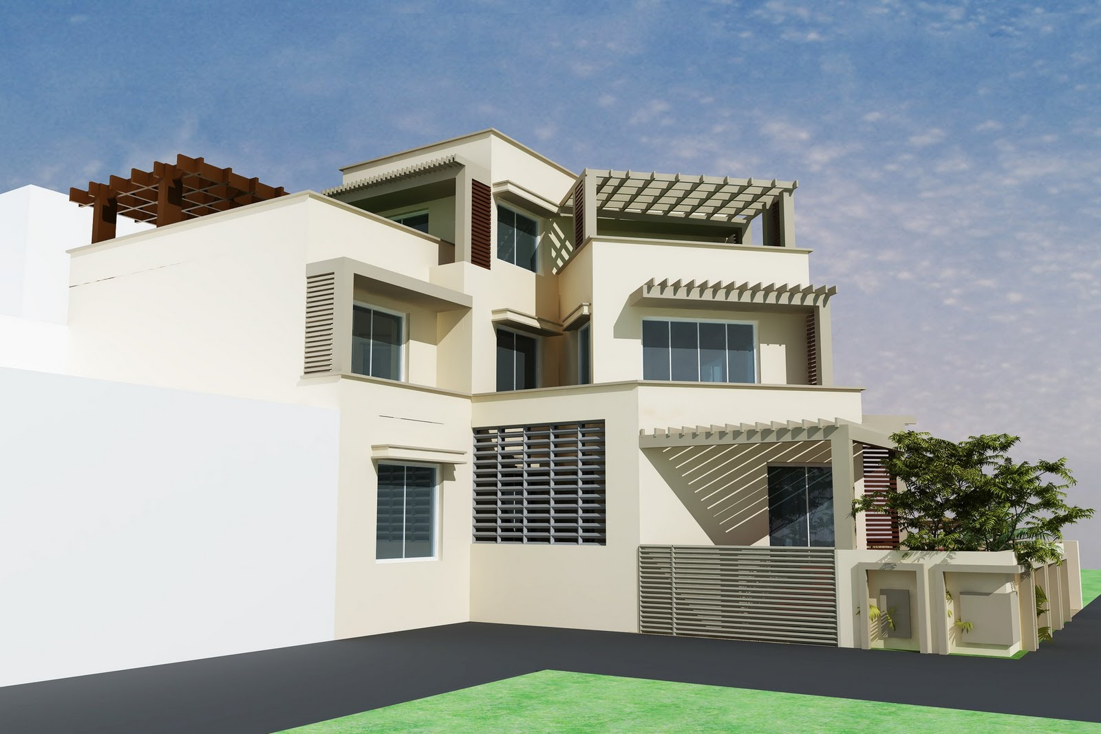 3d front 3d home design front elevation for Home designs 12m frontage
