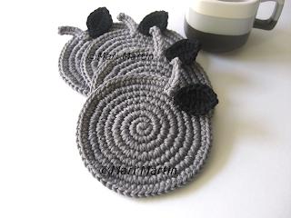 Crochet Coasters Grey Apples