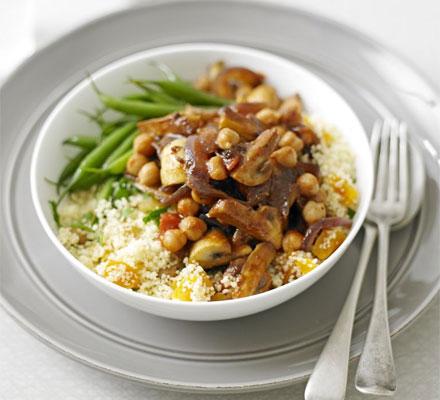 Moroccan mushrooms with couscous recipe - Moroccan cuisine recipes ...