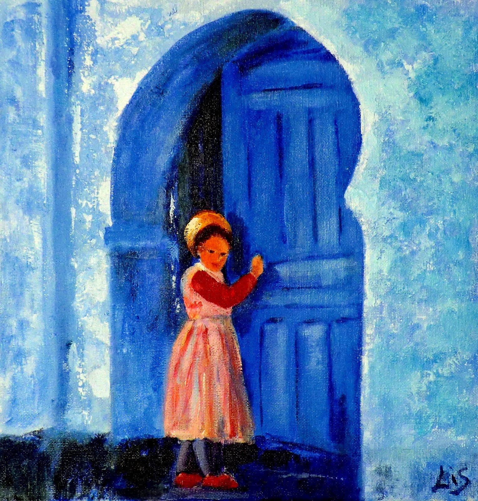 la nina abriendo la puerta de una casa arabe acrilico sobre lienzo ...
