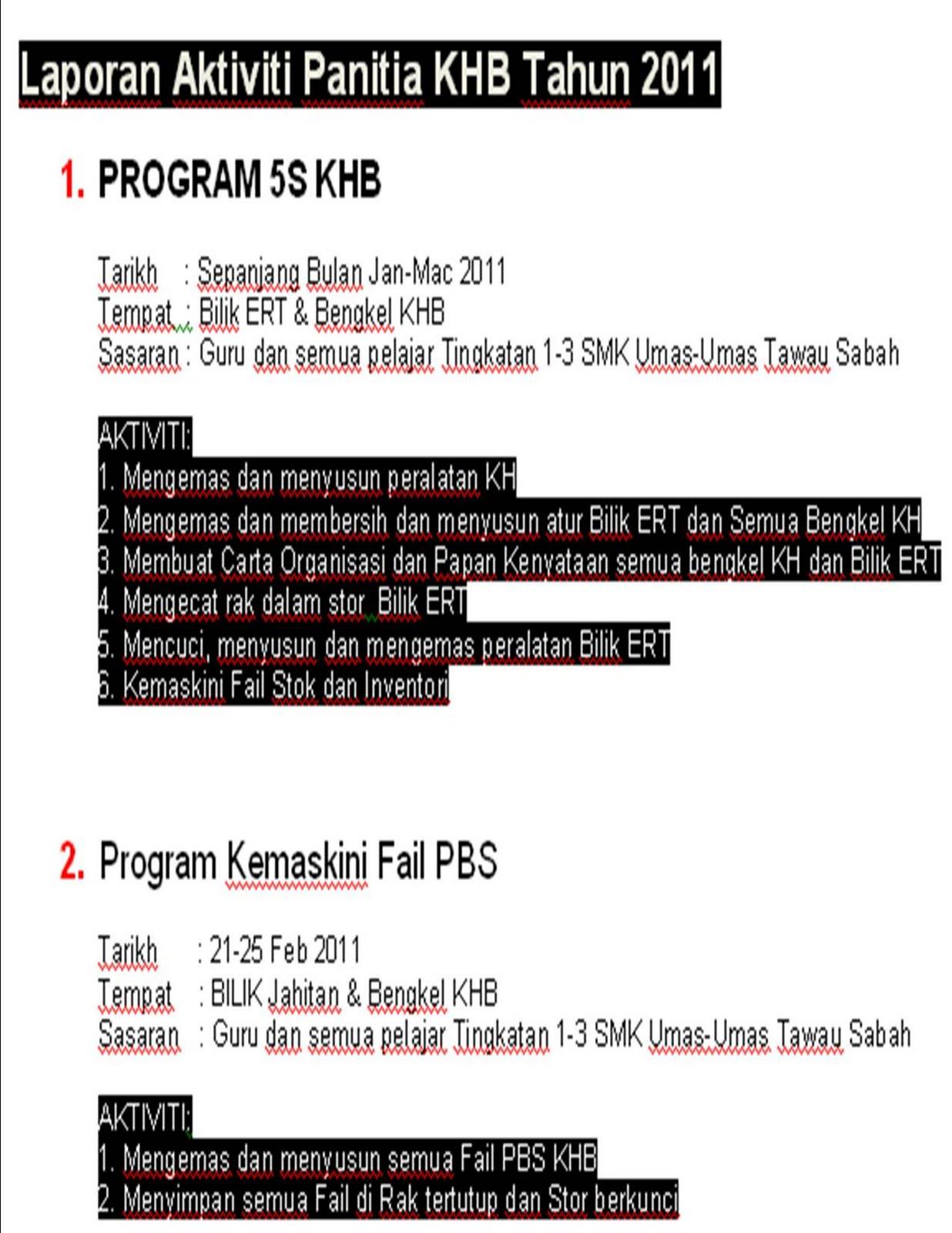 Laporan Aktiviti Panitia KHB 2011