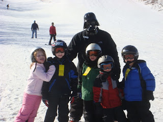Darth Vader, kids, skiing, snow, mountain, slope