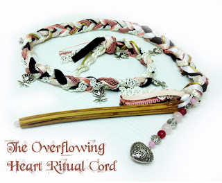 The Overflowing Heart Ritual Cord from MoonsCrafts in pinks.