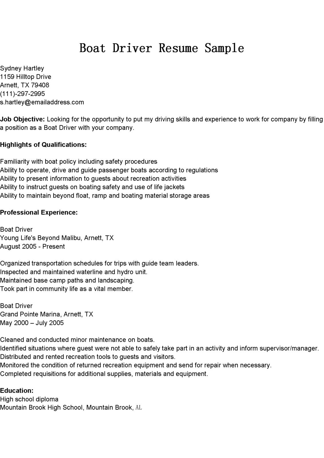 Driver Resumes Boat Driver Resume Sample
