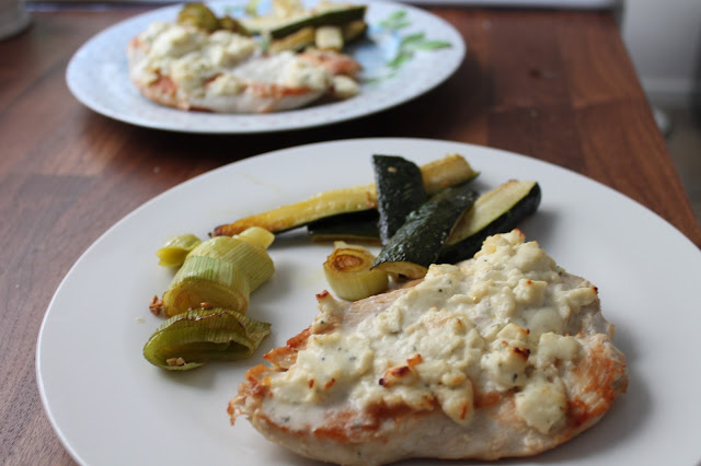 Garlic & Herb Boursin topped Chicken with Roasted Leeks & Courgette