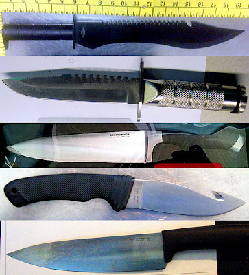 Knives Discovered at (Top - Bottom) LAX, DEN, EWR, EWR, IAH