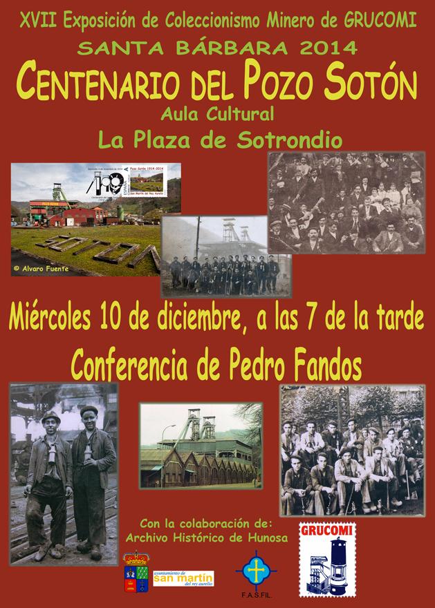 Cartel conferencia Pedro Fandos Centenario Pozo Sotón