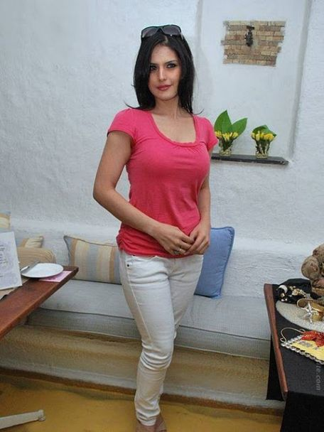 Zarine Khan Hot Stills in Pink T-shirt Pics