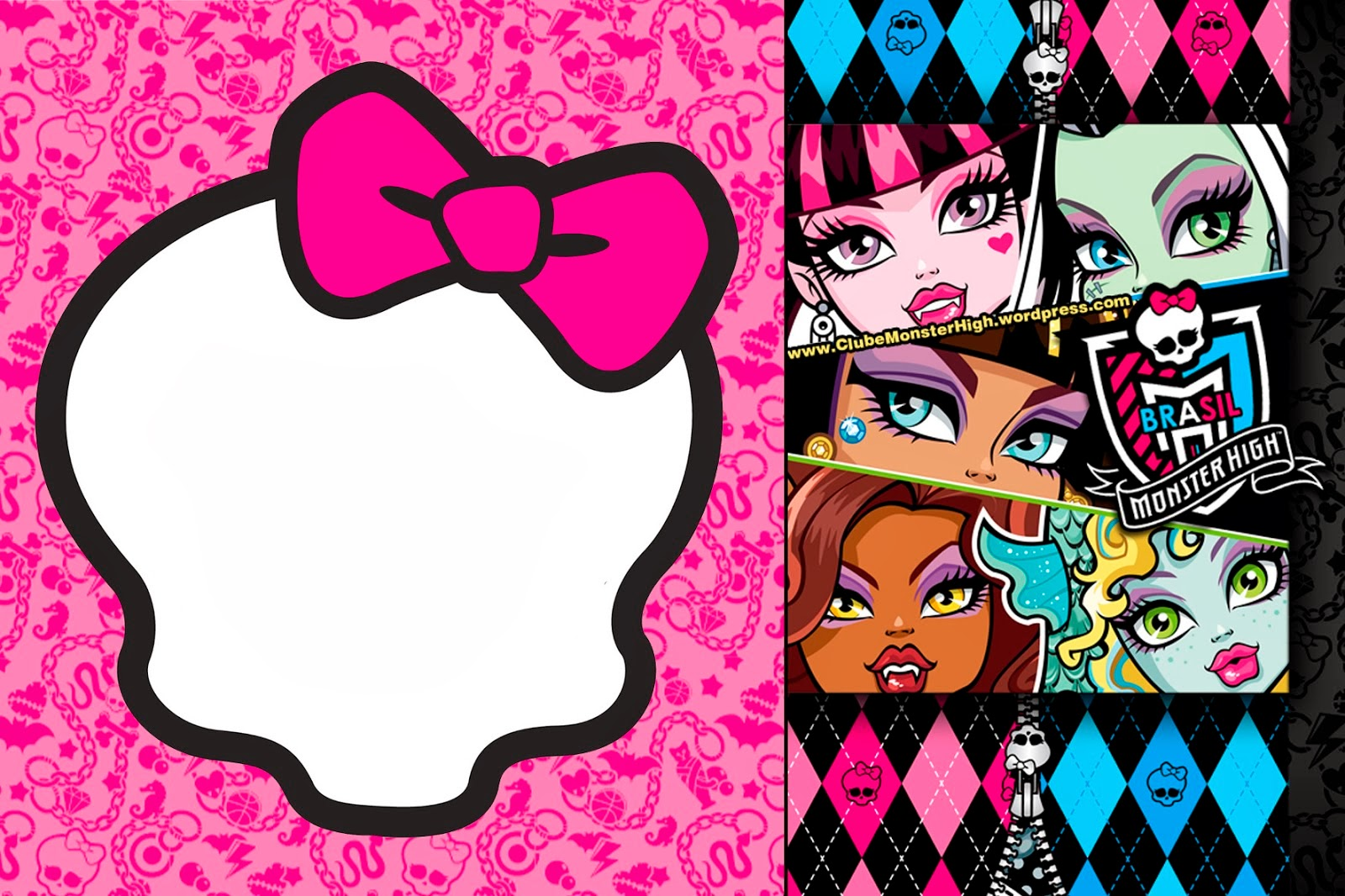 Rare image pertaining to free printable monster high invitations