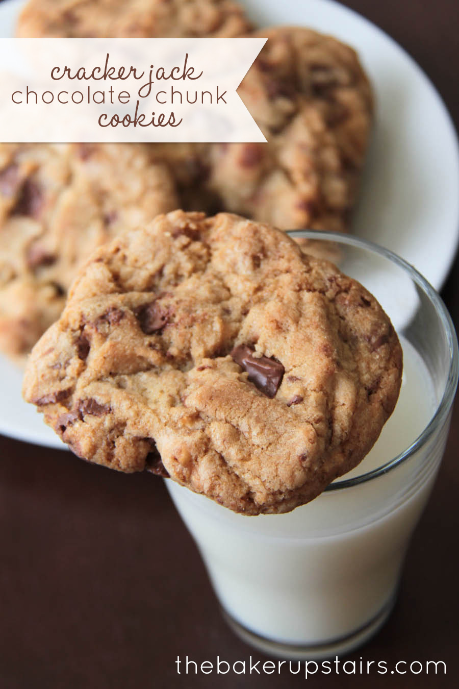 the baker upstairs: cracker jack chocolate chunk cookies