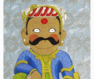 Nyatapola temple   Digital illustration folk wrestler Rajput and mandala pattern by Barbara Bisarello on CoCode Market & Studio