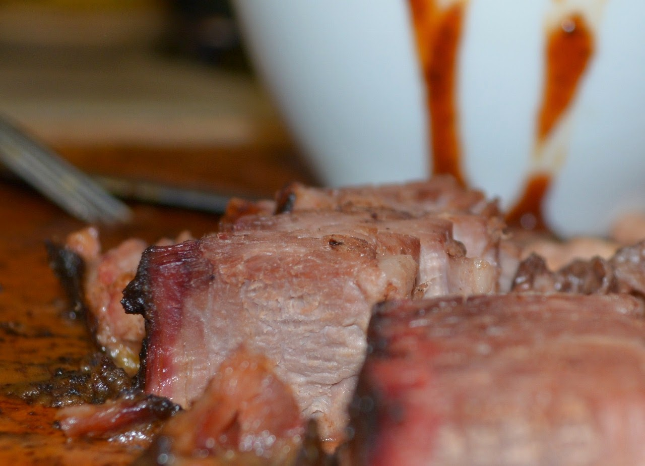 brisket with BBQ sauce