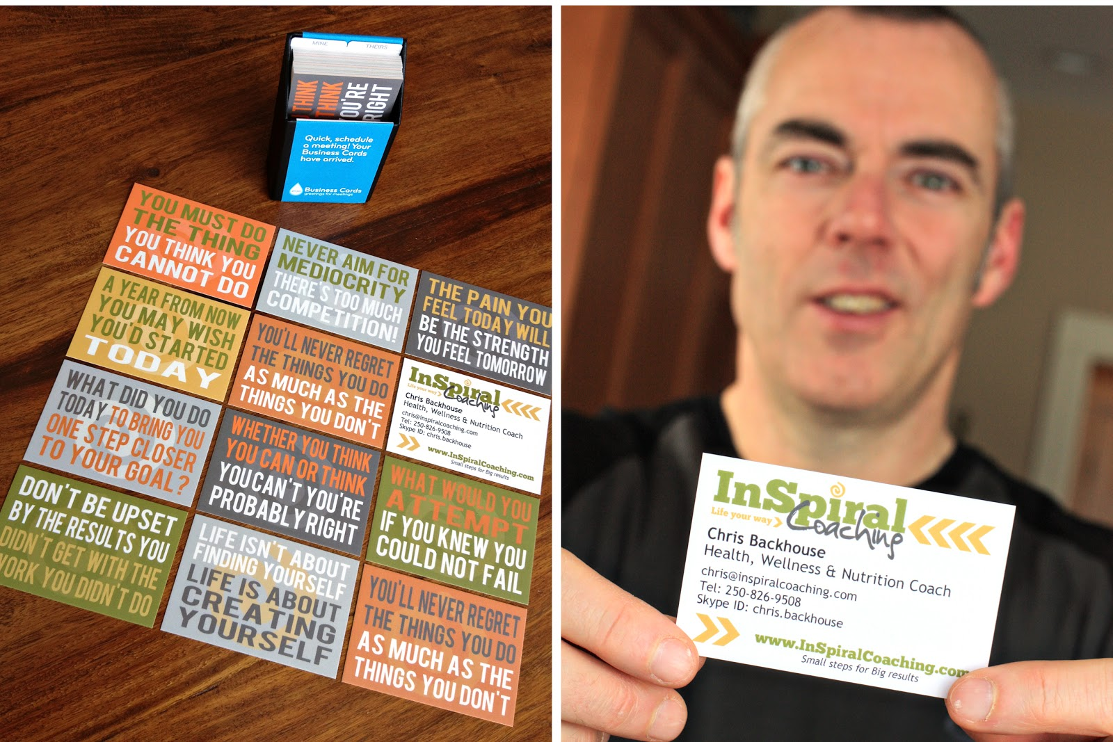 Inspiral coaching my new business cards for Health coach business card ideas