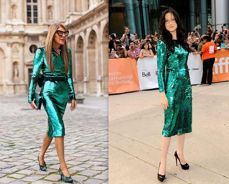 1x1.trans Who wore it better: Anna Dello Russo VS. Andrea Riseborough in Green Sequin Dolce and Gabbana Dress?