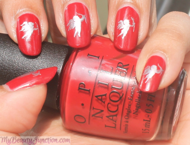 Valentine's Day Cupid Nail Art with OPI Fifty Shades of Grey