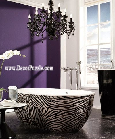 luxury bathtubs for modern bathroom, zebra print bathtub designs 2015