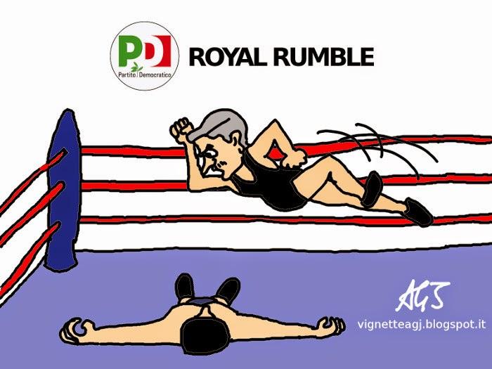 Renzi, D'Alema, PD, wrestling, vignetta, satira