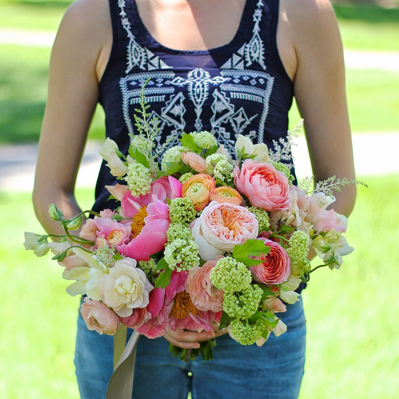 Sweet Pea Floral Design Detroit Ann Arbor Grosse Pointe Michigan wedding florist bouquet peach coral green spring asymmetrical wildly textured wandering ranunculus, garden roses, astilbe, viburnum, sweet peas, peony peonies at Earhart Manor
