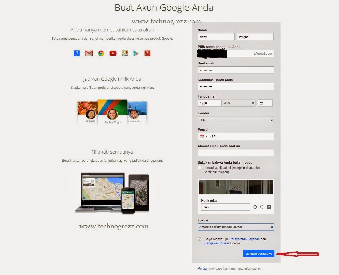 Cara membuat akun Gmail isi form