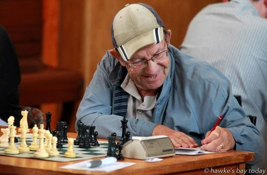 Brian Reeder, Hastings, A grade, records his moves - The 2nd Hawke's Bay Rapid, a New Zealand Chess grand prix class one event, at Asher Hall, Napier photograph