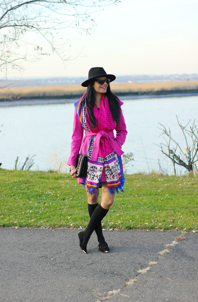 Pink wrap coat, Hot Pink Wrap coat, Pink wrap belted coat, Oversized Scarf Outfits, Wrap collar coat, Knee high socks for boots