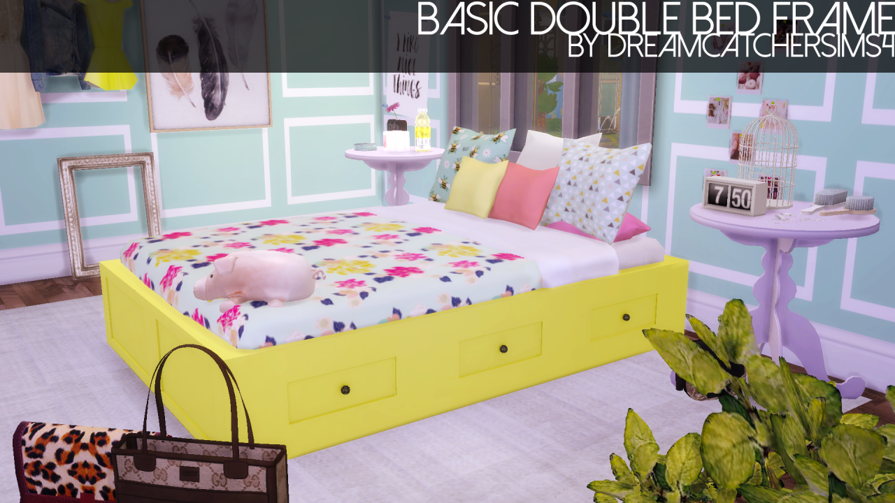 My Sims 4 Blog Basic Double Bed Frame In 20 Colors By