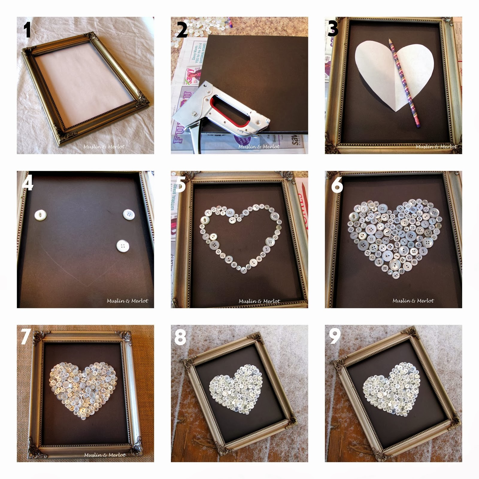Diy Buttons Heart In A Frame Diy Craft Projects
