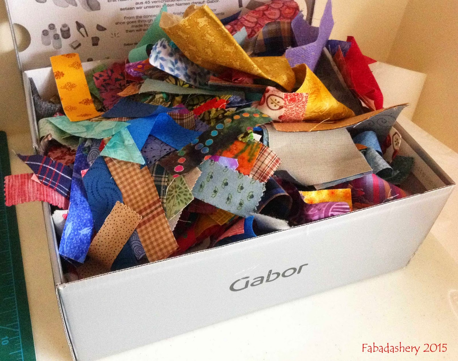 Box of fabric scraps