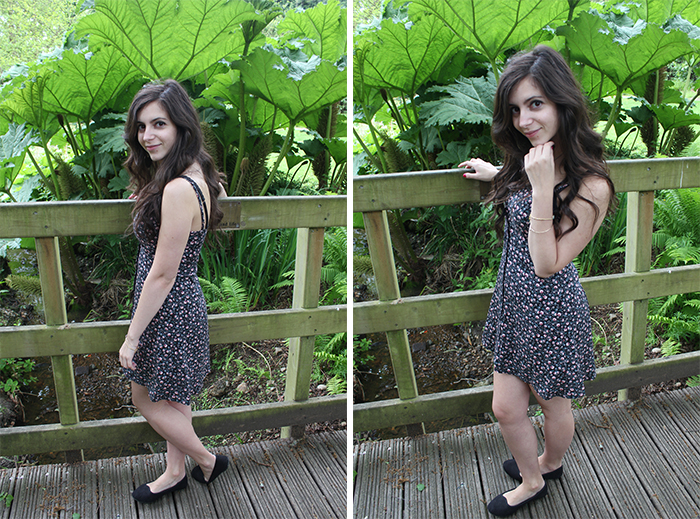 H&M floral dress skater buttons secret gardens Southampton Uni University