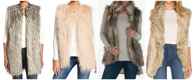 One of these fur vests is from Ashley B for $1,499 and the other three are under $100. Can you guess which one is the designer vest? Click the links below to see if you are correct!