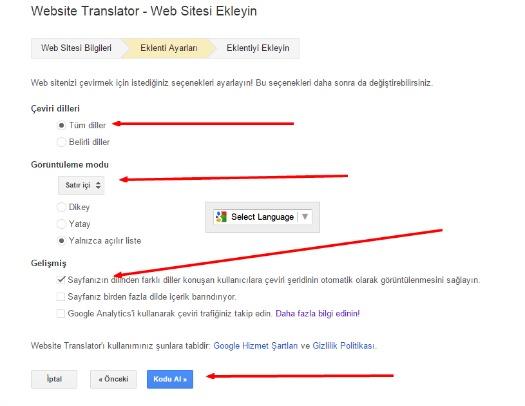 bloggera çeviri ekleme
