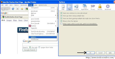 Go to Firefox Tools >> Options and check the box - When I Open a Link in a New Tab, Switch to it Immediately