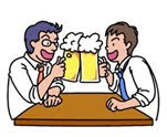 two guys drinking beer together